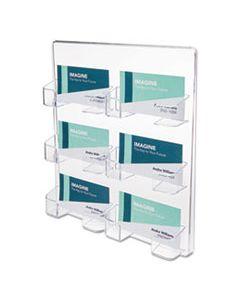 DEF70601 6-POCKET BUSINESS CARD HOLDER, 480 CARD CAP, 8 1/2 X 9 3/4 X 1 5/8, CLEAR
