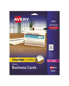 AVE5876 CLEAN EDGE BUSINESS CARDS, LASER, 2 X 3 1/2, IVORY, 200/PACK