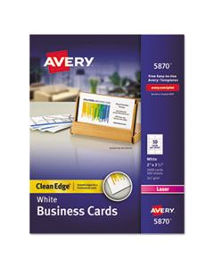 AVE5870 CLEAN EDGE BUSINESS CARD VALUE PACK, LASER, 2 X 3 1/2, WHITE, 2000/BOX
