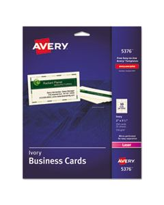 AVE5376 PRINTABLE MICROPERF BUSINESS CARDS, LASER, 2 X 3 1/2, IVORY, UNCOATED, 250/PACK