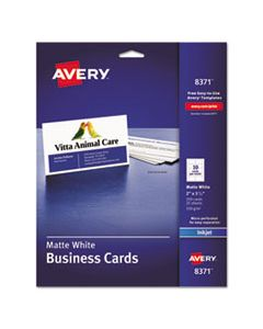 AVE8371 PRINTABLE MICROPERF BUSINESS CARDS, INKJET, 2 X 3 1/2, WHITE, MATTE, 250/PACK