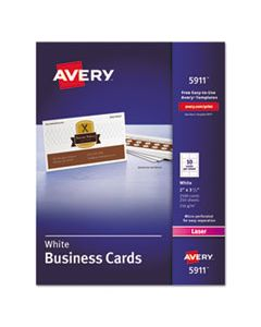 AVE5911 PRINTABLE MICROPERF BUSINESS CARDS, LASER, 2 X 3 1/2, WHITE, UNCOATED, 2500/BOX