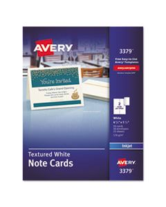 AVE3379 TEXTURED NOTE CARDS, INKJET, 4 1/4 X 5 1/2, UNCOATED WHITE, 50/BX W/ENVELOPES