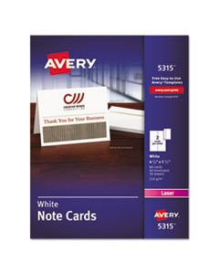 AVE5315 NOTE CARDS, LASER PRINTER, 4 1/4 X 5 1/2, UNCOATED WHITE, 60/PACK WITH ENVELOPES