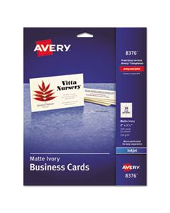 AVE8376 PRINTABLE MICROPERF BUSINESS CARDS, INKJET, 2 X 3 1/2, IVORY, MATTE, 250/PACK