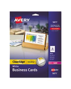 AVE5871 CLEAN EDGE BUSINESS CARDS, LASER, 2 X 3 1/2, WHITE, 200/PACK