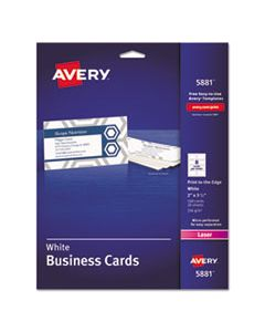 AVE5881 PRINT-TO-THE-EDGE MICROPERF BUSINESS CARDS, COLOR LASER, 2 X 3 1/2, WHT, 160/PK