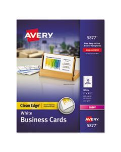 AVE5877 CLEAN EDGE BUSINESS CARDS, LASER, 2 X 3 1/2, WHITE, 400/BOX