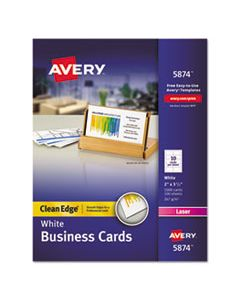 AVE5874 CLEAN EDGE BUSINESS CARDS, LASER, 2 X 3 1/2, WHITE, 1000/BOX