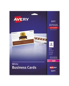AVE5371 PRINTABLE MICROPERF BUSINESS CARDS, LASER, 2 X 3 1/2, WHITE, UNCOATED, 250/PACK