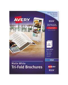 AVE8324 TRI-FOLD BROCHURES, 92 BRIGHT, 83LB, 8.5 X 11, MATTE WHITE, 100/PACK