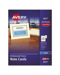 AVE8317 EMBOSSED NOTE CARDS, INKJET, 4 1/4 X 5 1/2, MATTE IVORY, 60/PK W/ENVELOPES