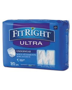 """MIIFIT23005ACT FITRIGHT ULTRA PROTECTIVE UNDERWEAR, MEDIUM, 28"""" TO 40"""" WAIST, 20/PACK, 4 PACK/CARTON"""