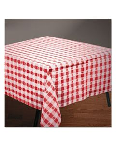 """HFM220670 TISSUE/POLY TABLECOVERS, 54"""" X 108"""", RED/WHITE GINGHAM"""