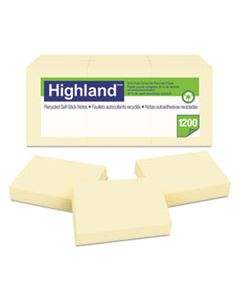 MMM6539RP RECYCLED SELF-STICK NOTES, 1 3/8 X 1 7/8, YELLOW, 100 SHEETS/PAD, 12 PADS/PACK