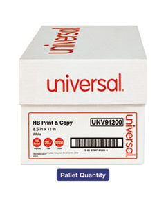 UNV91200PLT MULTIPURPOSE PAPER, 95-96 BRIGHT, 20LB, 8.5 X 11, WHITE, 500 SHEETS/REAM, 10 REAMS/CARTON, 40 CARTONS/PALLET