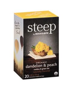 BTC17715 STEEP TEA, DANDELION & PEACH, 1.18 OZ TEA BAG, 20/BOX