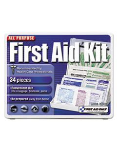 FAO112 ALL-PURPOSE FIRST AID KIT, 34 PIECES, 3 3/4 X 4 3/4 X 1/2, BLUE/WHITE