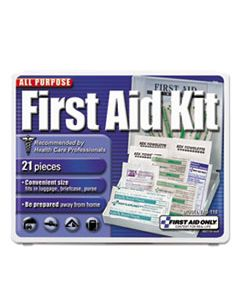 FAO110 ALL-PURPOSE FIRST AID KIT, 21 PIECES, 4 3/4 X 3 X 1/2, BLUE/WHITE