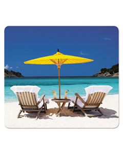 FEL5916301 RECYCLED MOUSE PADS, CARIBBEAN BEACH DESIGN, 9 X 1/16