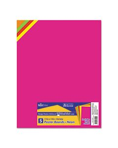 GEO23500 PREMIUM COATED POSTER BOARD, 11 X 14, ASSORTED, 5/PACK
