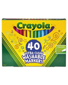 CYO587861 ULTRA-CLEAN WASHABLE MARKERS, FINE BULLET TIP, CLASSIC COLORS, 40/SET