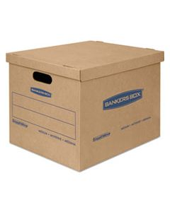 "FEL7717201 SMOOTHMOVE CLASSIC MOVING & STORAGE BOXES, MEDIUM, HALF SLOTTED CONTAINER (HSC), 18"" X 15"" X 14"", BROWN KRAFT/BLUE, 8/CARTON"