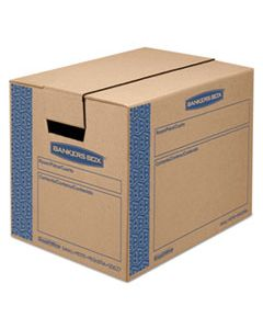 "FEL0062701 SMOOTHMOVE PRIME MOVING & STORAGE BOXES, SMALL, REGULAR SLOTTED CONTAINER (RSC), 16"" X 12"" X 12"", BROWN KRAFT/BLUE, 10/CARTON"