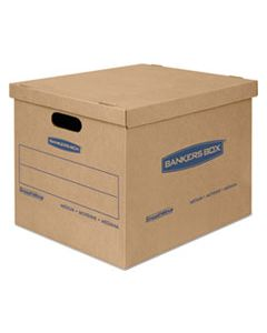 "FEL7714210 SMOOTHMOVE CLASSIC MOVING & STORAGE BOXES, SMALL, HALF SLOTTED CONTAINER (HSC), 15"" X 12"" X 10"", BROWN KRAFT/BLUE, 20/CARTON"