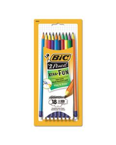 BICPGEP181 #2 PENCIL XTRA FUN, HB (#2), BLACK LEAD, ASSORTED BARREL COLORS, 18/PACK
