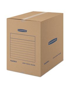 "FEL7714001 SMOOTHMOVE BASIC MOVING BOXES, LARGE, REGULAR SLOTTED CONTAINER (RSC), 18"" X 18"" X 24"", BROWN KRAFT/BLUE, 15/CARTON"