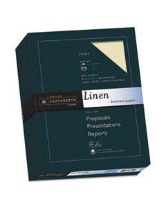 SOU564C 25% COTTON LINEN BUSINESS PAPER, 24 LB, 8.5 X 11, IVORY, 500/REAM