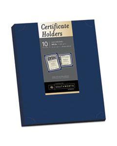 SOUPF8 CERTIFICATE HOLDER, NAVY, 105LB LINEN STOCK, 12 X 9 1/2, 10/PACK
