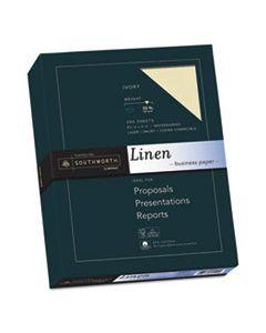 SOUJ568C 25% COTTON LINEN BUSINESS PAPER, 32 LB, 8.5 X 11, IVORY, 250/PACK