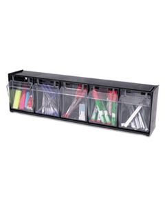 DEF20504OP TILT BIN INTERLOCKING 5-BIN ORGANIZER, 23 5/8 X 5 1/4 X 6 1/2, BLACK/CLEAR