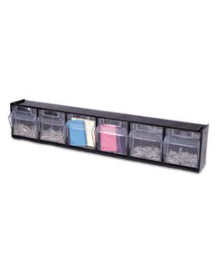DEF20604OP TILT BIN INTERLOCKING 6-BIN ORGANIZER, 23 5/8 X 3 5/8 X 4 1/2, BLACK/CLEAR