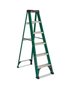 DADFS4006 FIBERGLASS STEP LADDER, 8 FT WORKING HEIGHT, 225 LBS CAPACITY, 5 STEP, GREEN/BLACK