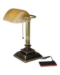 "ALELMP517AB TRADITIONAL BANKER'S LAMP WITH USB, 10""W X 10""D X 15""H, ANTIQUE BRASS"