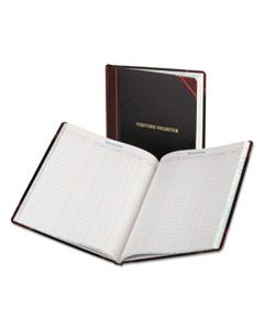 BOR806 VISITOR REGISTER BOOK, BLACK/RED HARDCOVER, 150 PAGES, 10 7/8 X 14 1/8