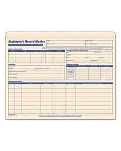 TOP3280 EMPLOYEE RECORD MASTER FILE JACKET, STRAIGHT TAB, LETTER SIZE, MANILA, 20/PACK