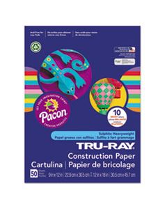 PAC102940 TRU-RAY CONSTRUCTION PAPER, 76LB, 9 X 12, ASSORTED BRIGHT COLORS, 50/PACK
