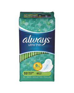 PGC95251 ULTRA THIN PADS WITH WINGS, SUPER LONG, 32/PACK, 6 PACKS/CARTON