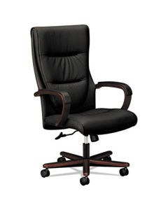BSXVL844NSB11 VL844 LEATHER HIGH-BACK CHAIR, SUPPORTS UP TO 250 LBS., BLACK SEAT/MAHOGANY BACK, MAHOGANY BASE