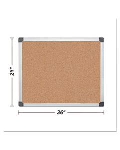 BVCCA031170 VALUE CORK BULLETIN BOARD WITH ALUMINUM FRAME, 24 X 36, NATURAL