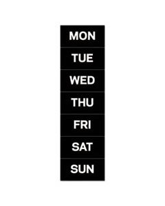 """BVCFM1007 INTERCHANGEABLE MAGNETIC BOARD ACCESSORIES, DAYS OF WEEK, BLACK/WHITE, 2"""" X 1"""""""