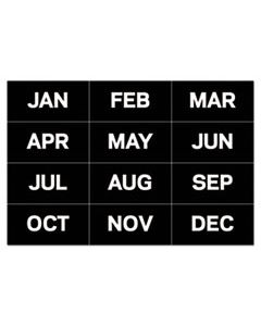 "BVCFM1108 INTERCHANGEABLE MAGNETIC BOARD ACCESSORIES, MONTHS OF YEAR, BLACK/WHITE, 2"" X 1"""