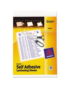 """AVE73603 CLEAR SELF-ADHESIVE LAMINATING SHEETS, 3 MIL, 9"""" X 12"""", MATTE CLEAR, 10/PACK"""