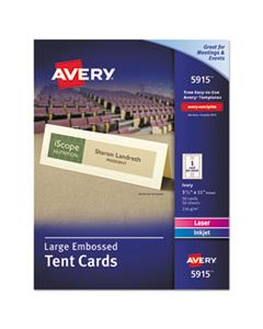 AVE5915 LARGE EMBOSSED TENT CARD, IVORY, 3 1/2 X 11, 1 CARD/SHEET, 50/BOX