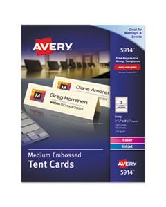 AVE5914 MEDIUM EMBOSSED TENT CARDS, IVORY, 2 1/2 X 8 1/2, 2 CARDS/SHEET, 100/BOX