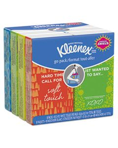 KCC46651 ON THE GO PACKS FACIAL TISSUES, 3-PLY, WHITE, 10 SHEETS/POUCH, 8 POUCHES/PACK